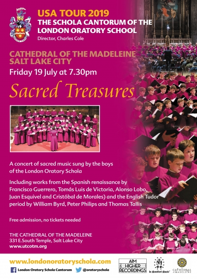 London Oratory Schola boys' choir from England, 18 July at 5:15pm Mass & 19 July at 7:30pm concert.